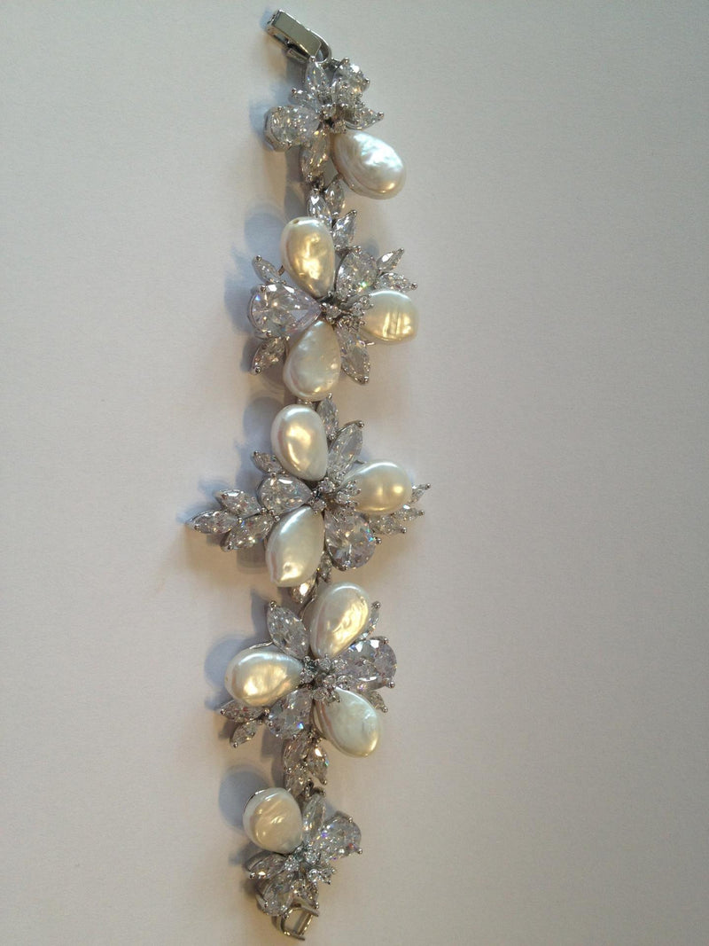 Bracelet Couture Silver Crystal and Pearl