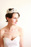 Lace & Glass Beaded Crown Headpiece