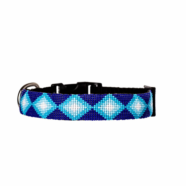 Aquata seed bead dog collar is a striking blend of blue, turquoise and white