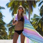 girl wearing la lucia beach blanket