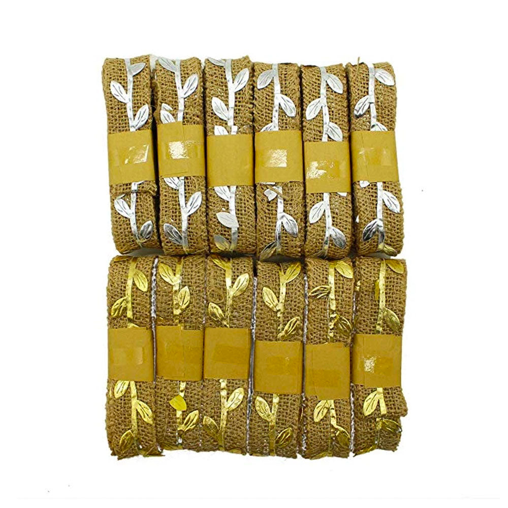 Burlap Ribbon | Jute Crafting Ribbon with Gold and Silver Leaves (13 Yards)