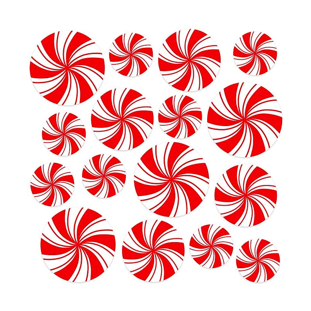 Circus Party Decorations | Red and White LARGE Decals | Set of 16