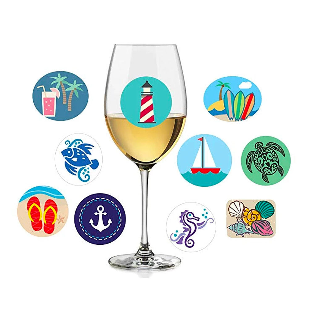 Beach Themed  Wine Charms | Reusable Stickers