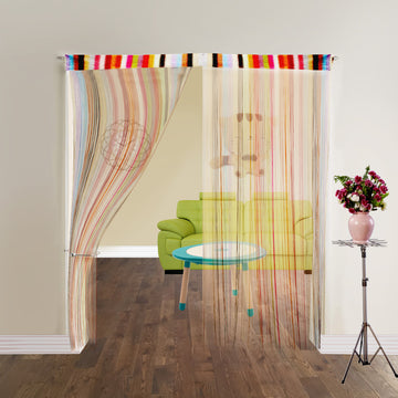 Door Fringe Curtains | Set of 2 String Curtain Panels