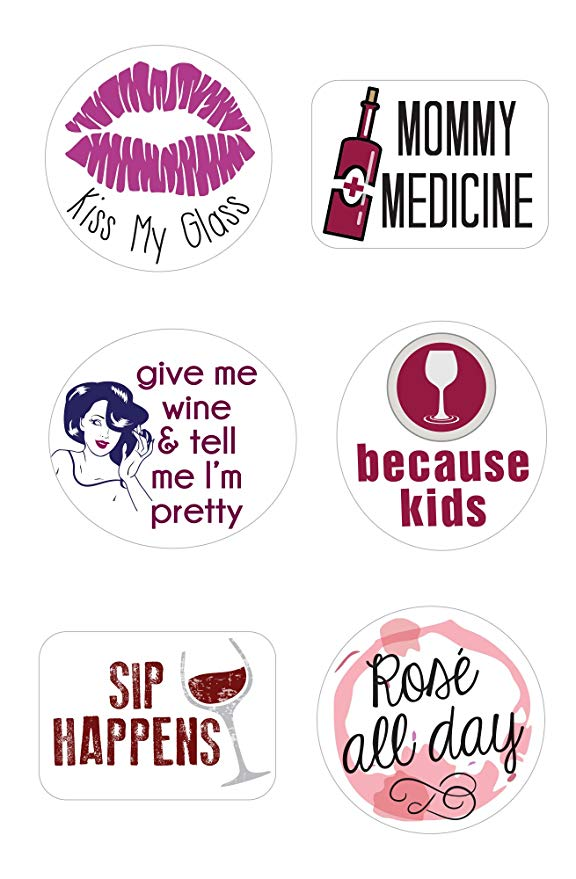 Stickers for Wine Glasses | Set of 12