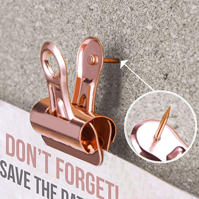 Rose Gold Push Pins with Clips