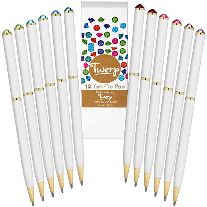 Fancy Pens with Colorful Diamond Gem Top (Set of 12)