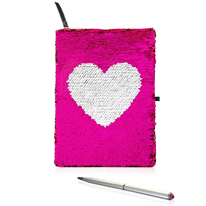Flip Sequin Journal for Girls with Diamond Pen