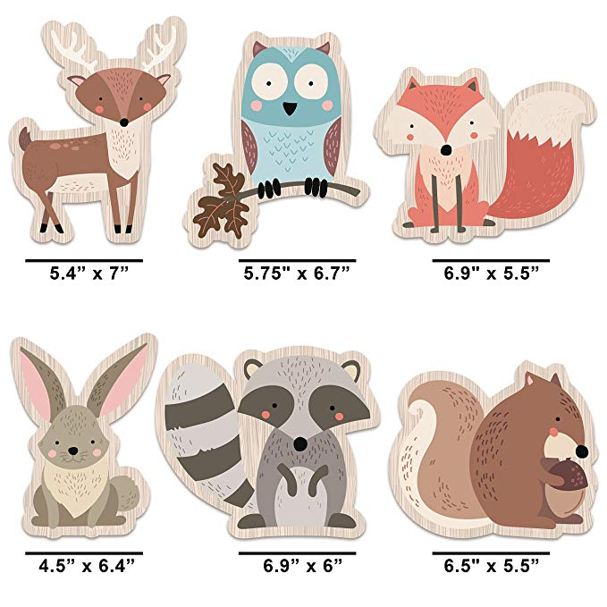 Woodland Creatures Party Supplies (Set of 6 Heavy Card Stock Figures)