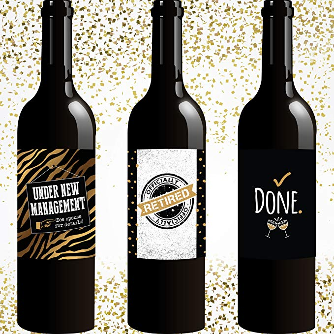 Retirement Wine Bottle Labels