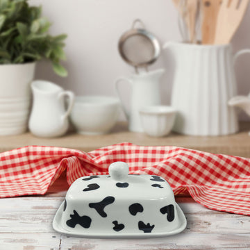 Cow Print Butter Dish with Lid | White Ceramic with Cow Hide Decor