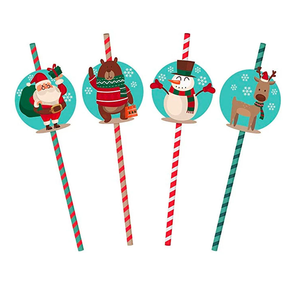 Paper Christmas Straws (Pack of 32)