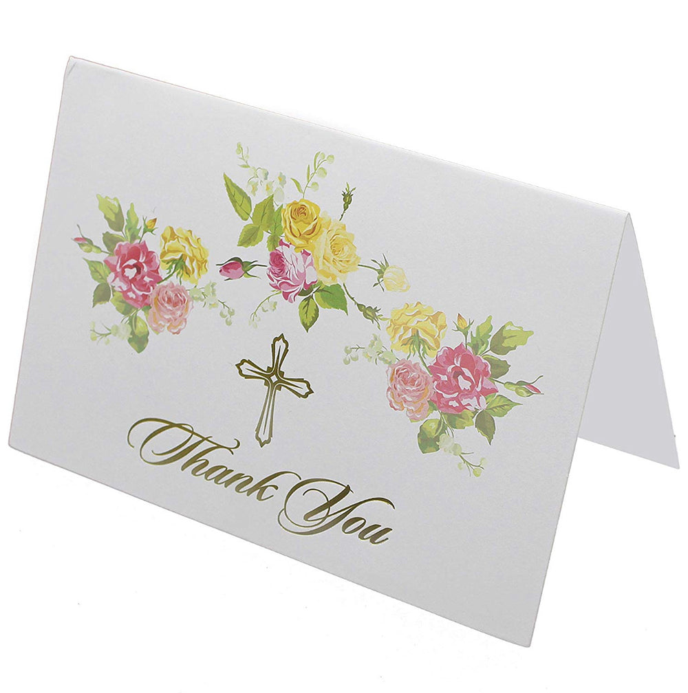 25 Religious Thank you Cards with Envelopes | Baptism, Bridal Shower, First Communion, Sympathy Thank You Cards | Floral Design with Gold Foil Cross | Bonus! Floral Envelope Sticker