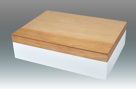Two-Tone Natural Wood Empty Box - White