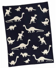 Load image into Gallery viewer, Navy Reversible Dinosaur Blanket