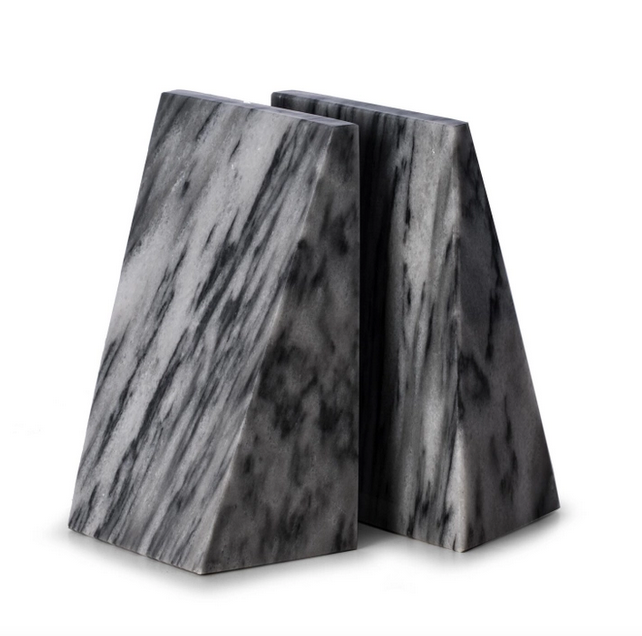 Grey Marble Wedge Bookend