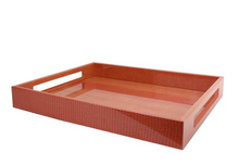 Load image into Gallery viewer, Orange Croc Lacquered Serving Tray
