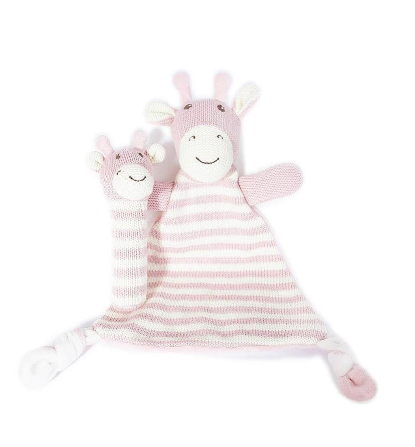 Giraffe Knit Security Blanket and Rattle Gift Set