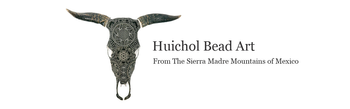 Huichol beaded bull skulls made by the indigenous people of Mexico