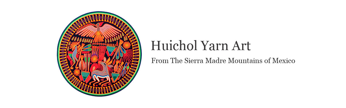 Yarn paintings made by the Huichol indigenous people of Mexico