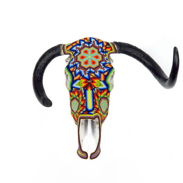 Huichol Beaded Bull Skull Wall Mount Mexican Folk Art - VivaMexico.com