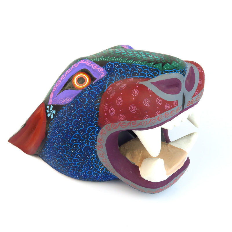 Blue & Green Jaguar Head - Oaxacan Alebrije Wood Carving - VivaMexico.com