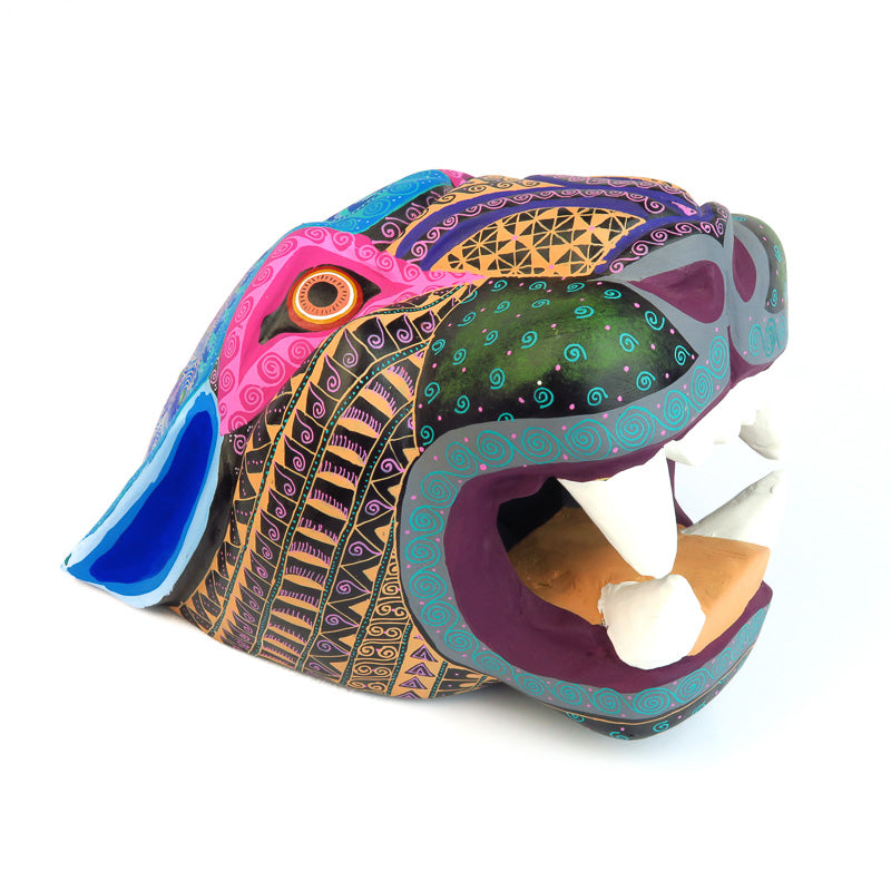 Large Jaguar Head - Oaxacan Alebrije Wood Carving - VivaMexico.com