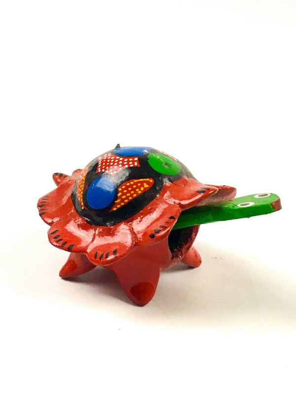 MINI RED TURTLE Bobblehead Alebrije Handcrafted Mexican Folk Art Sculpture