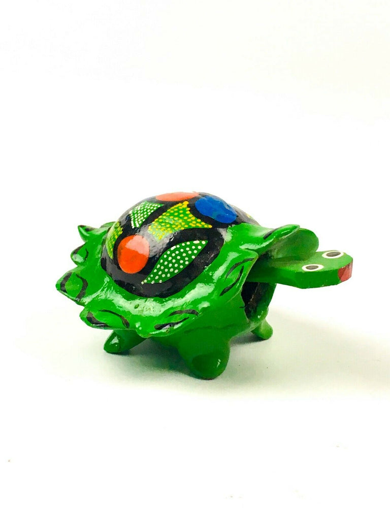 MINI GREEN TURTLE Bobblehead Alebrije Handcrafted Mexican Folk Art Sculpture - VivaMexico.com