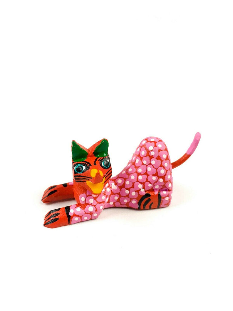 MINI RED CAT Oaxacan Alebrije Wood Carving Mexican Folk Art Sculpture - VivaMexico.com