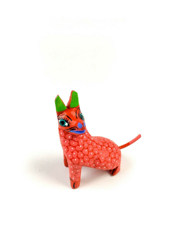 MINI ORANGE DOG Oaxacan Alebrije Wood Carving Mexican Folk Art Sculpture