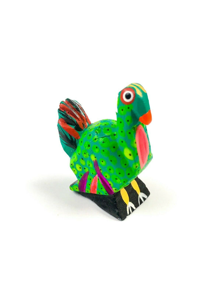 MINI GREEN TURKEY Oaxacan Alebrije Wood Carving Mexican Folk Art Sculpture - VivaMexico.com