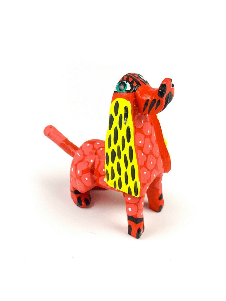 MINI RED DOG Oaxacan Alebrije Wood Carving Mexican Folk Art Sculpture - VivaMexico.com