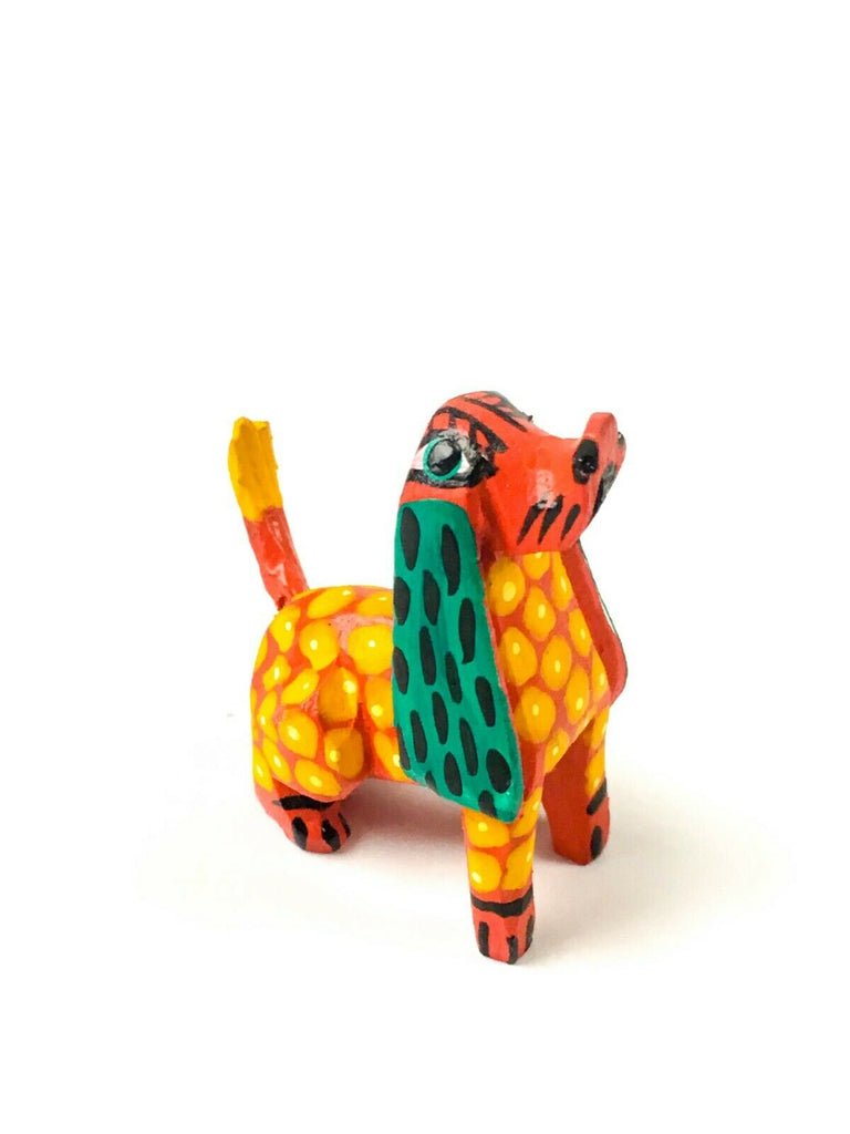 MINI YELLOW & GREEN DOG Oaxacan Alebrije Wood Carving Mexican Folk Art Sculpture - VivaMexico.com