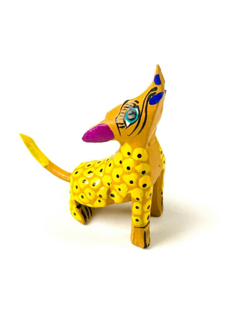 MINI YELLOW COYOTE Oaxacan Alebrije Wood Carving Mexican Folk Art Sculpture - VivaMexico.com