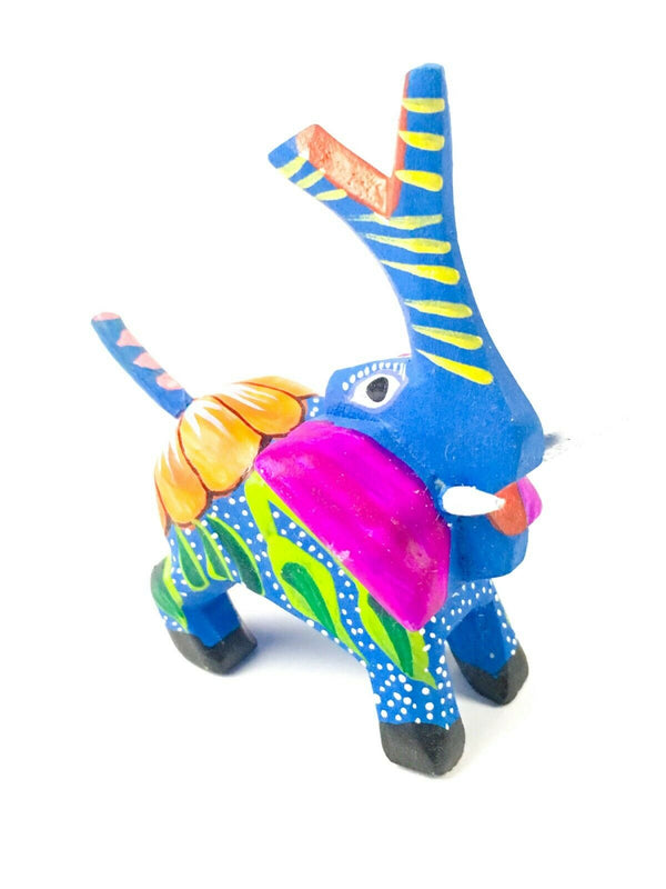 MINI BLUE ELEPHANT Oaxacan Alebrije Wood Carving Mexican Folk Art Sculpture