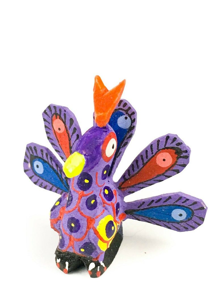 MINI PEACOCK Oaxacan Alebrije Wood Carving Mexican Folk Art Sculpture - VivaMexico.com