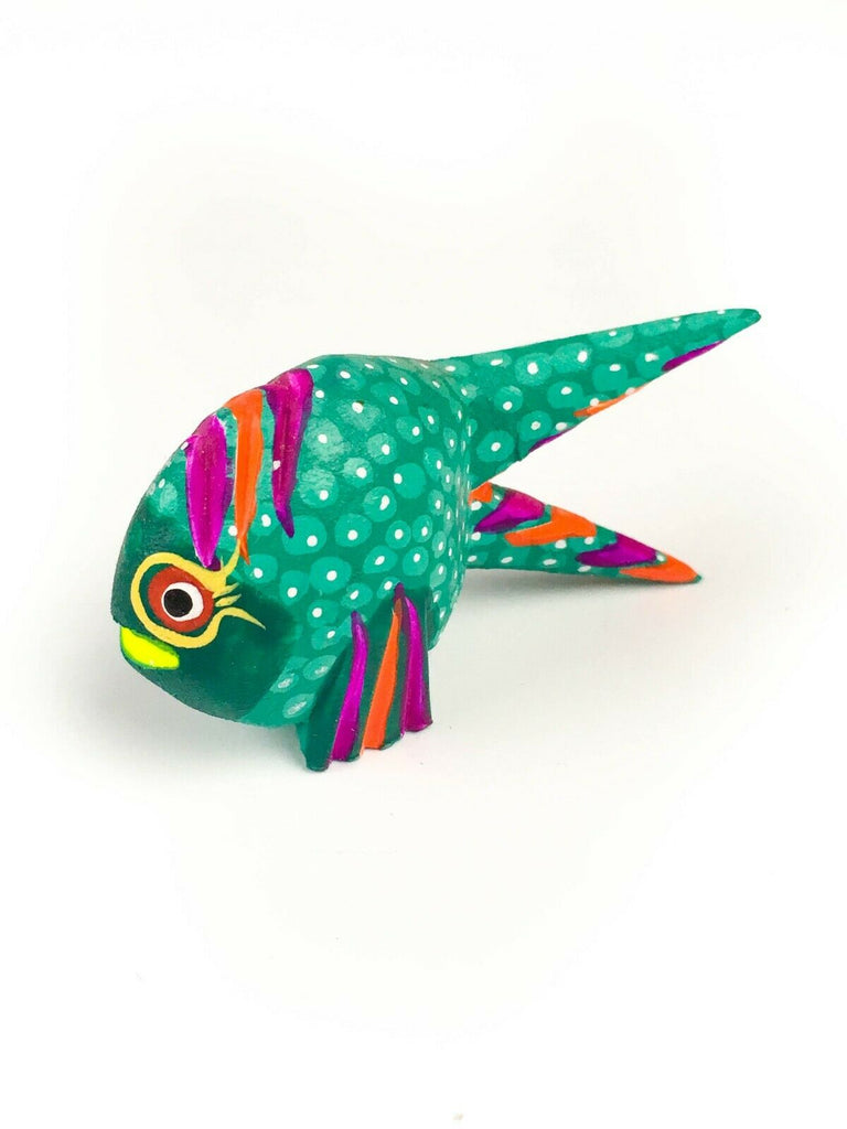 MINI TURQUOISE FISH Oaxacan Alebrije Wood Carving Mexican Folk Art Sculpture - VivaMexico.com