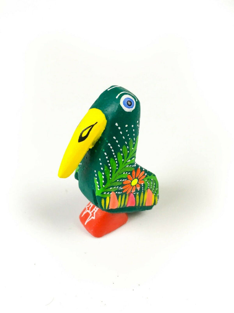 MINI PARROT BIRD Oaxacan Alebrije Wood Carving Mexican Folk Art Sculpture - VivaMexico.com