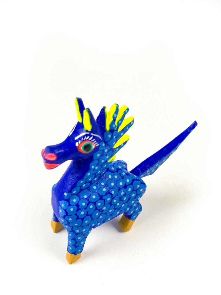 MINI BLUE HORSE Oaxacan Alebrije Wood Carving Mexican Folk Art Sculpture - VivaMexico.com