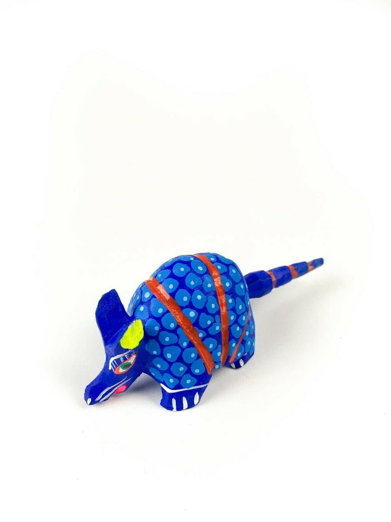 MINI BLUE ARMADILLO Oaxacan Alebrije Wood Carving Mexican Folk Art Sculpture - VivaMexico.com