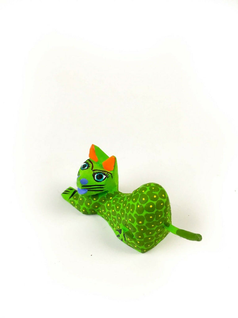 MINI GREEN CAT Oaxacan Alebrije Wood Carving Mexican Folk Art Sculpture - VivaMexico.com