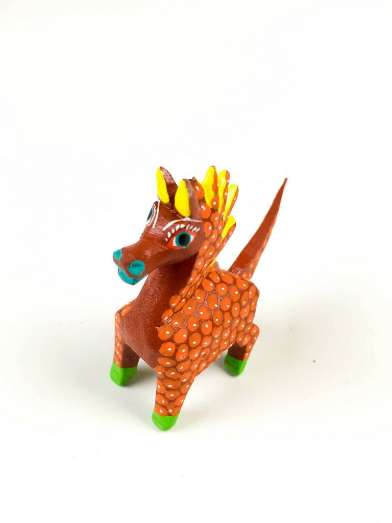 MINI ORANGE HORSE Oaxacan Alebrije Wood Carving Mexican Folk Art Sculpture - VivaMexico.com