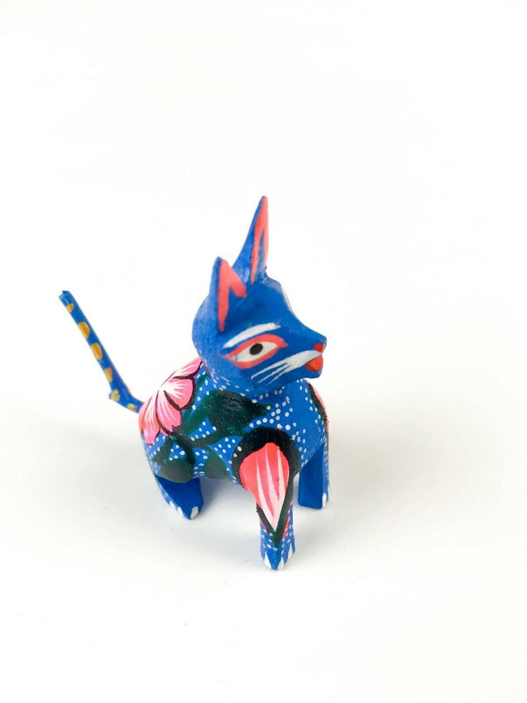 MINI CAT Oaxacan Alebrije Wood Carving Mexican Folk Art Sculpture