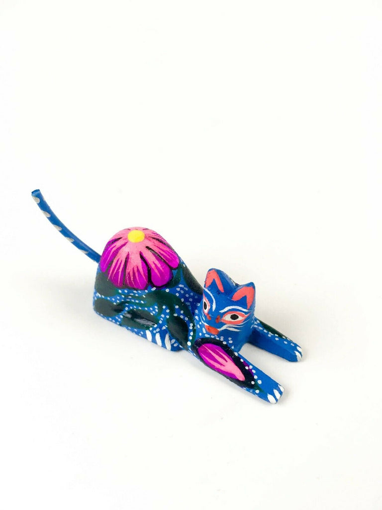 MINI BLUE CAT Oaxacan Alebrije Wood Carving Mexican Folk Art Sculpture - VivaMexico.com