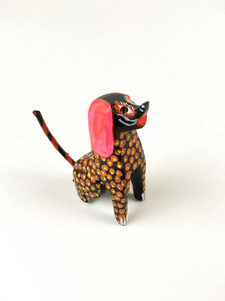 MINI DOG Oaxacan Alebrije Wood Carving Mexican Folk Art Sculpture - VivaMexico.com