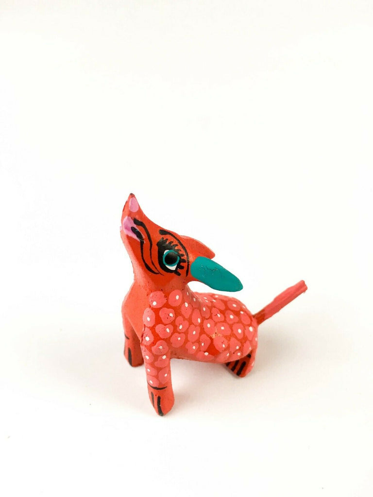 MINI ORANGE COYOTE Oaxacan Alebrije Wood Carving Mexican Folk Art Sculpture - VivaMexico.com