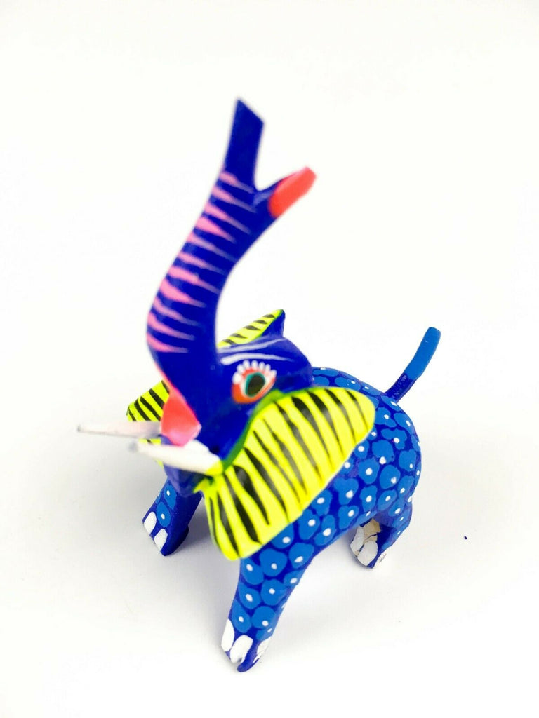 MINI BLUE ELEPHANT Oaxacan Alebrije Wood Carving Mexican Folk Art Sculpture - VivaMexico.com