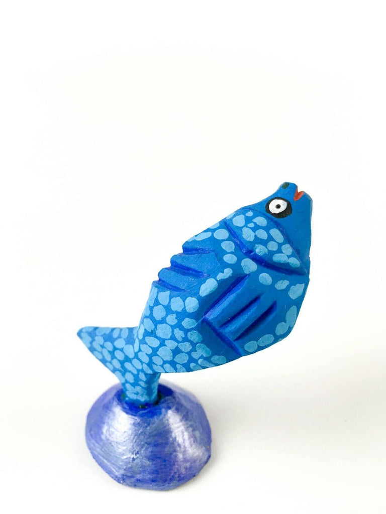MINI BLUE FISH Oaxacan Alebrije Wood Carving Mexican Folk Art Sculpture - VivaMexico.com