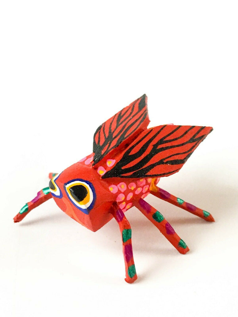 MINI RED FLY Oaxacan Alebrije Wood Carving Mexican Folk Art Sculpture - VivaMexico.com